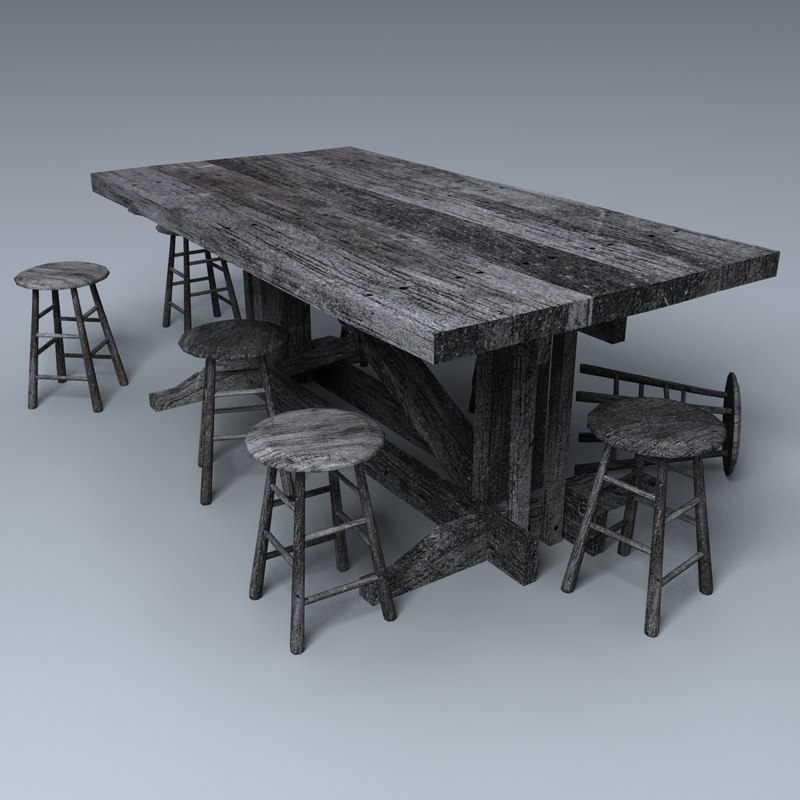 wooden table medieval tavern 3d model