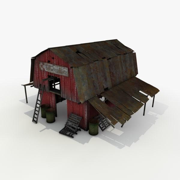 old wooden barn 3d model
