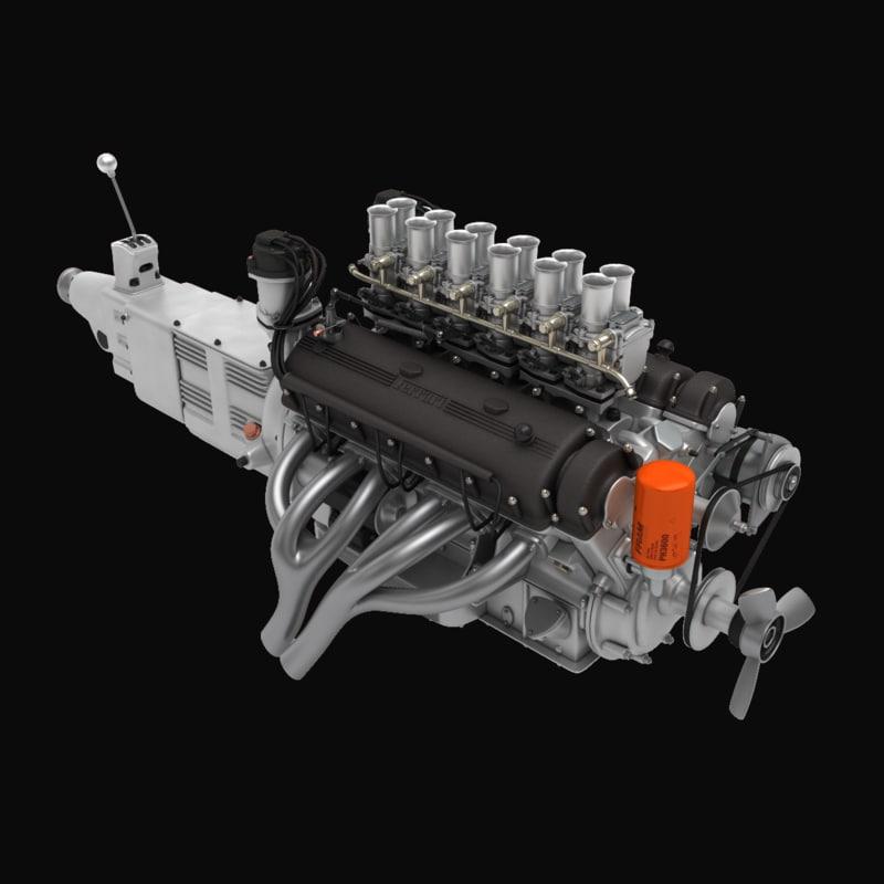 3d model ferrari v12 engine