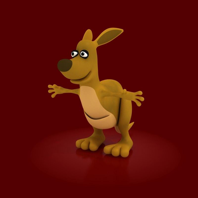 3d cartoon kangaroo rig