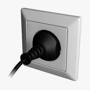 3d model electric socket plug