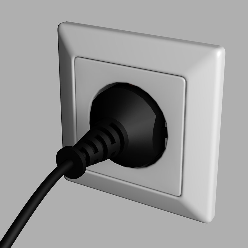 3d model electric socket plug
