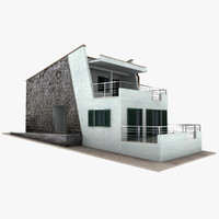 3d stone house model