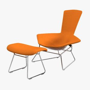 knoll bertoia lounge chair 3d model