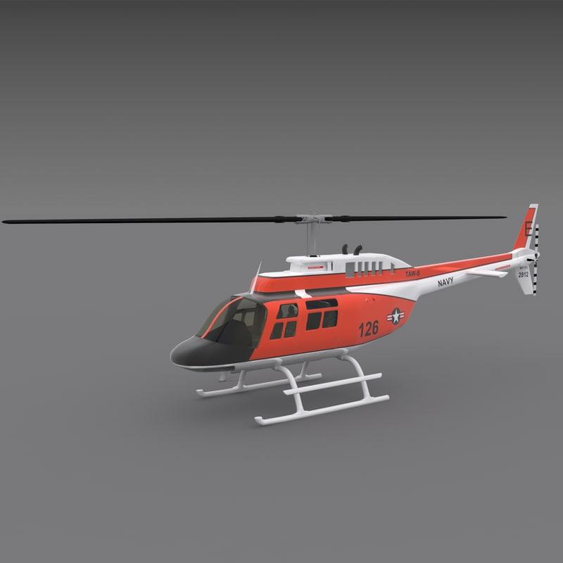 3d model 206 jetranger helicopters