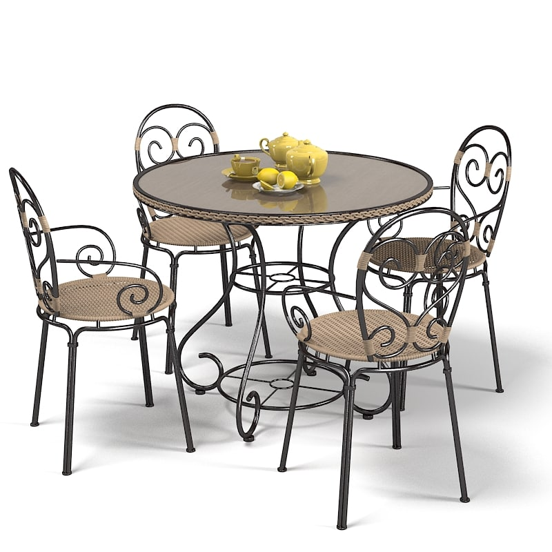 3d outdoor garden furniture set model