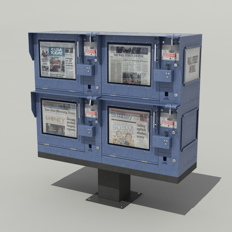 3d newspaper stand model