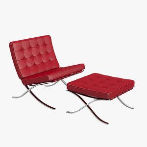 knoll barcelona chair stool 3d max