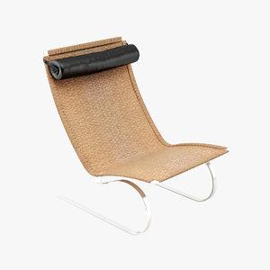 3d dwg relax rocking chair rattan
