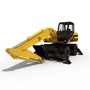 middle hydraulic excavator 3d model