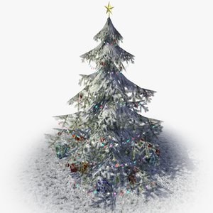3d obj christmas tree presents