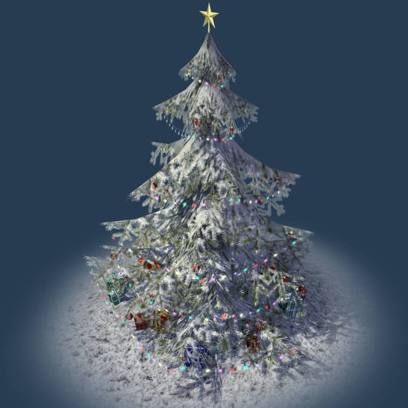 3d obj christmas tree presents