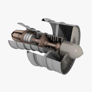 3d model jet turbine