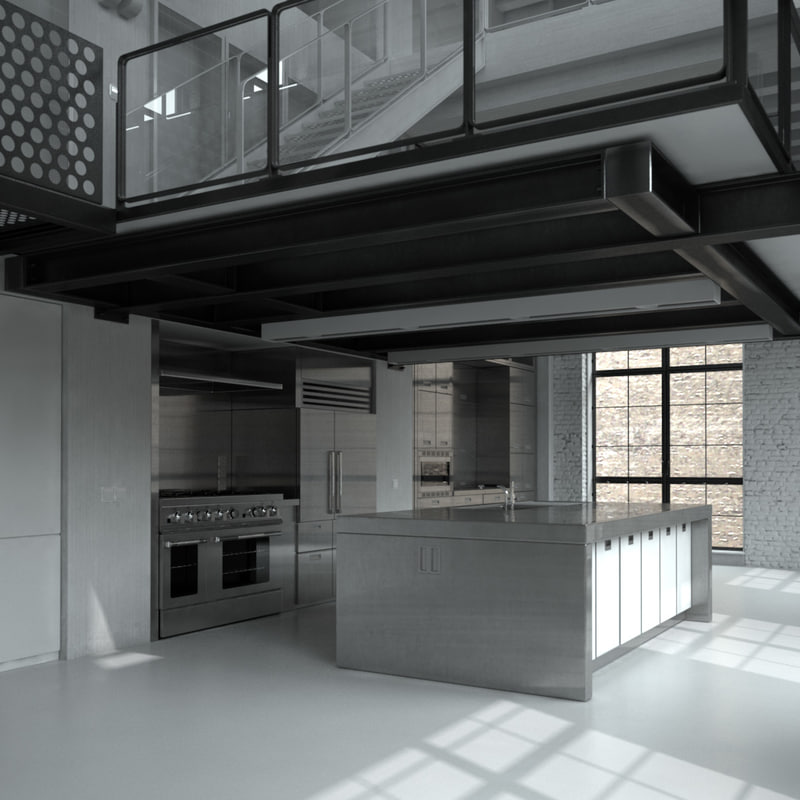 Interior scene max for Steel building with loft