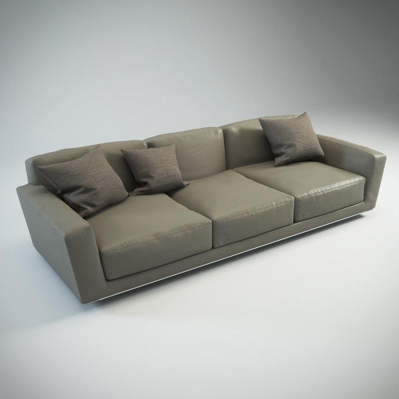 lissoni luis sofa three-sitter 3d obj