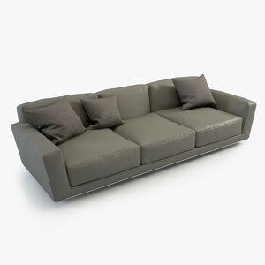 lissoni luis sofa three-sitter 3d obj