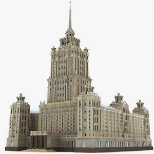 moscow hotel ukraine 3d c4d