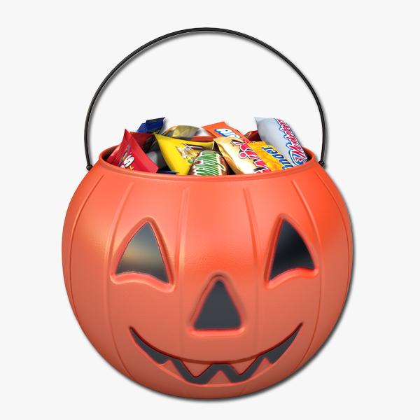 3ds max pumpkin candy bucket