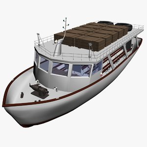 tourist boat lokrum 3d model