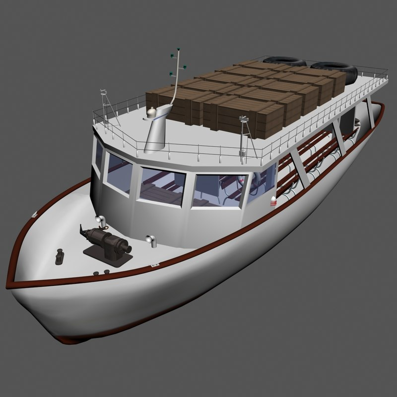 tourist boat lokrum 3d model