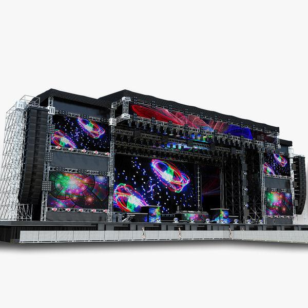 3d model mega dj stage set