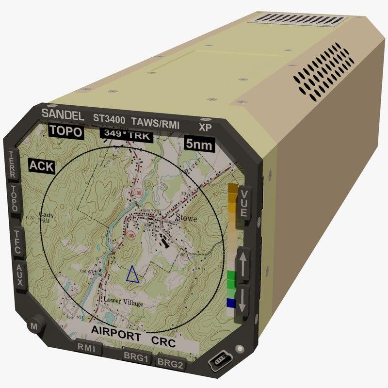 sandel avionics st3400 taws 3d max