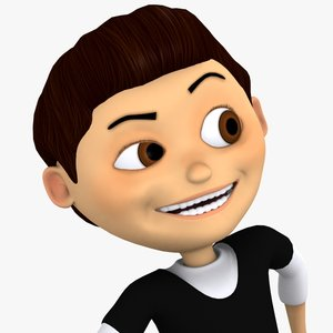 cartoon boy kid 3d max