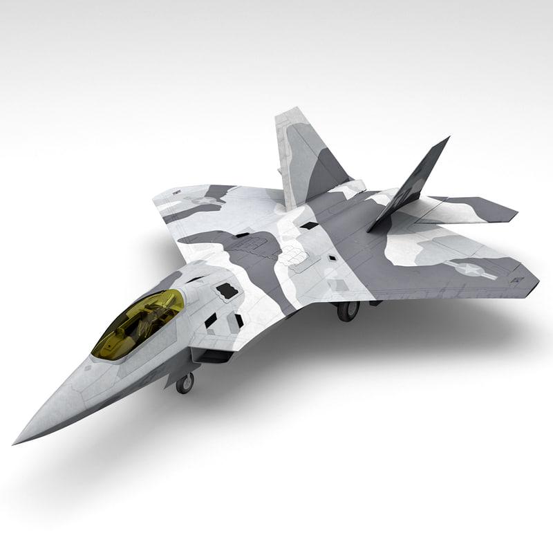 3d f-22 raptor 3 rigged model