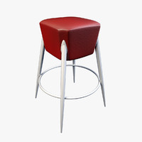 Red Leather Bar Chair
