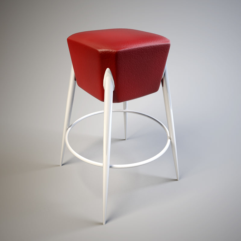 3d red leather bar chair