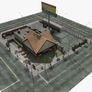 3d diner lights building
