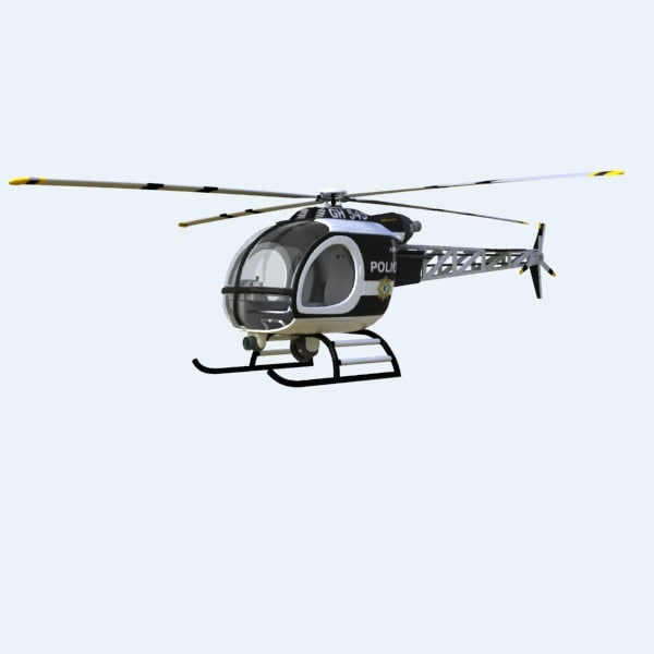 helicopter police 3d obj