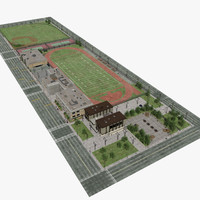 High School with Football and Baseball Fields