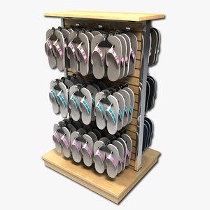 3d men sandals display rack