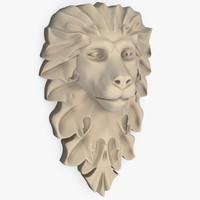 stone lion head 3d model