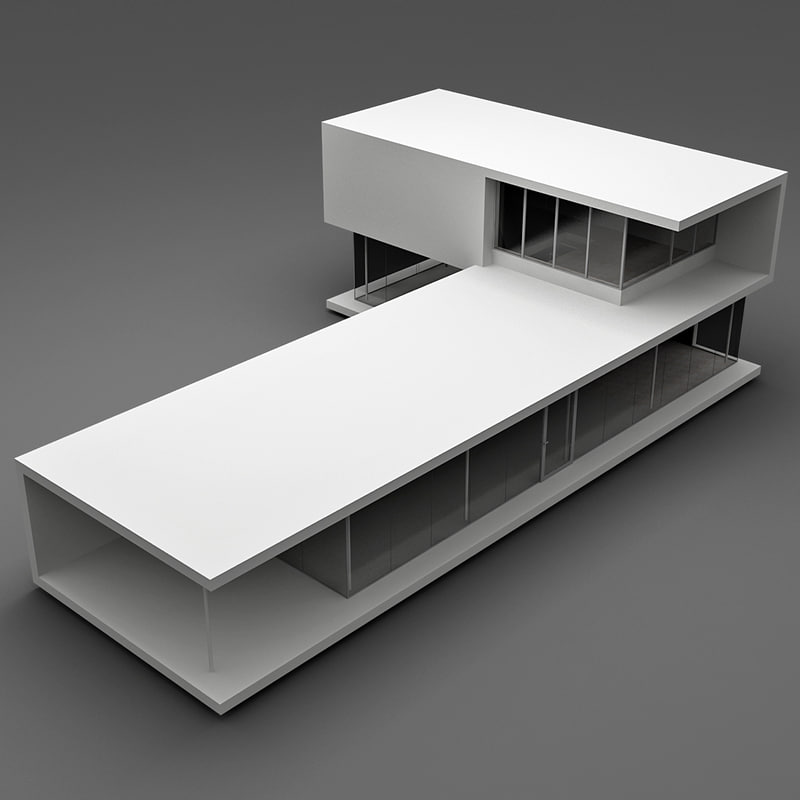 realistic modern house 1 3d model