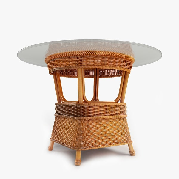 3d wooden wicker center coffee table model