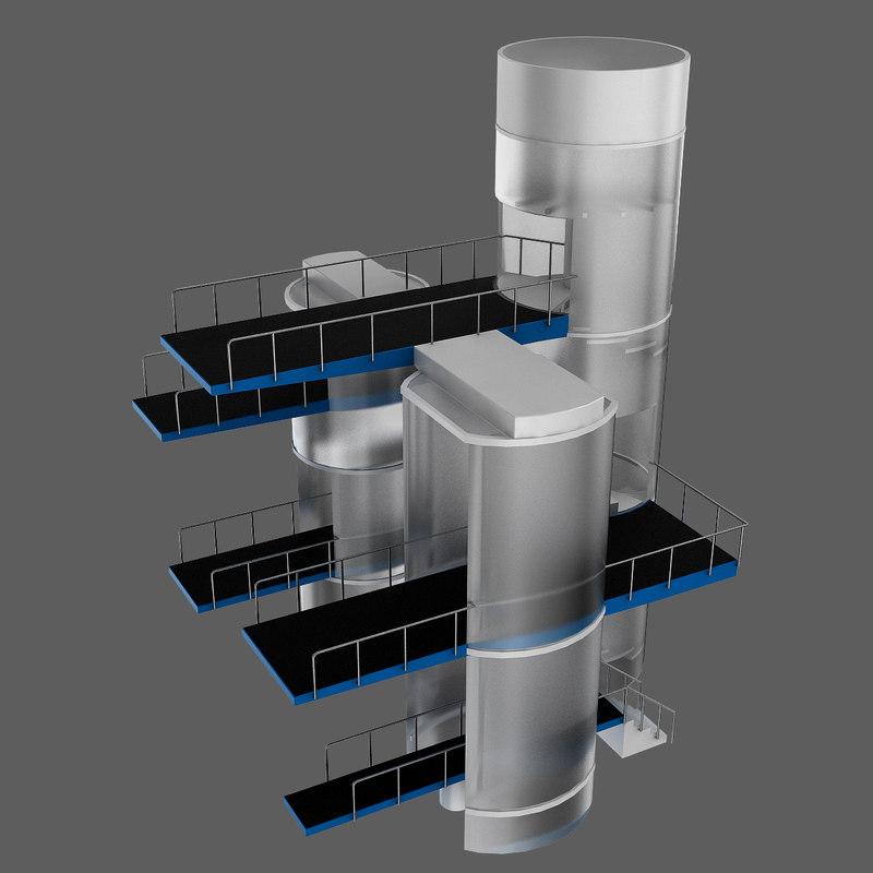 diving tower 3d model