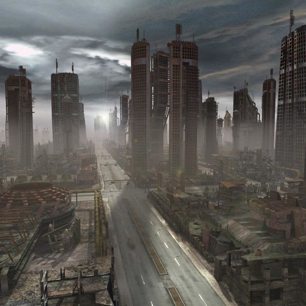 ruined destroyed city 3d model