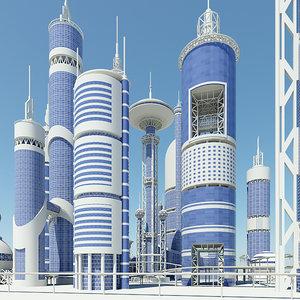 3d futuristic buildings model