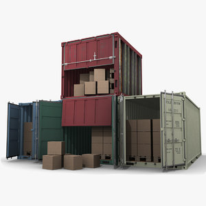 4 containers 3d model