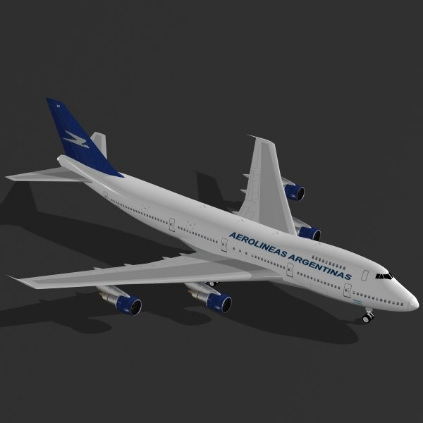 3d commercial airplane b 747-200