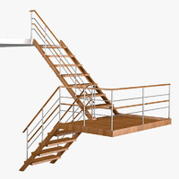 open wooden staircase 3d model