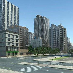 3dsmax city cityscape office buildings