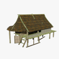 3d bamboo hut model