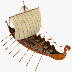 3d viking ship boats model
