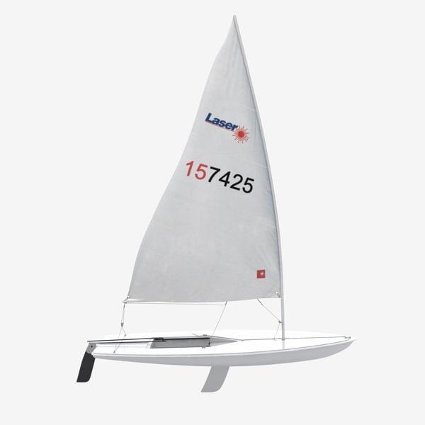 laser sailing boat 3d model