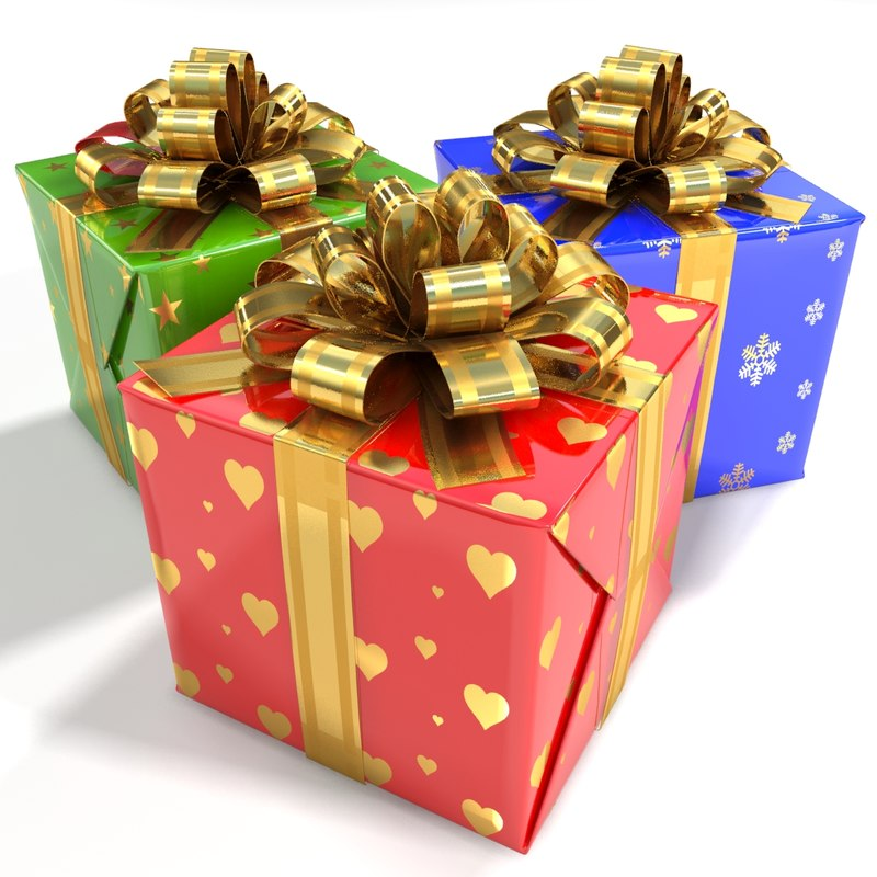 gift red green blue 3d model