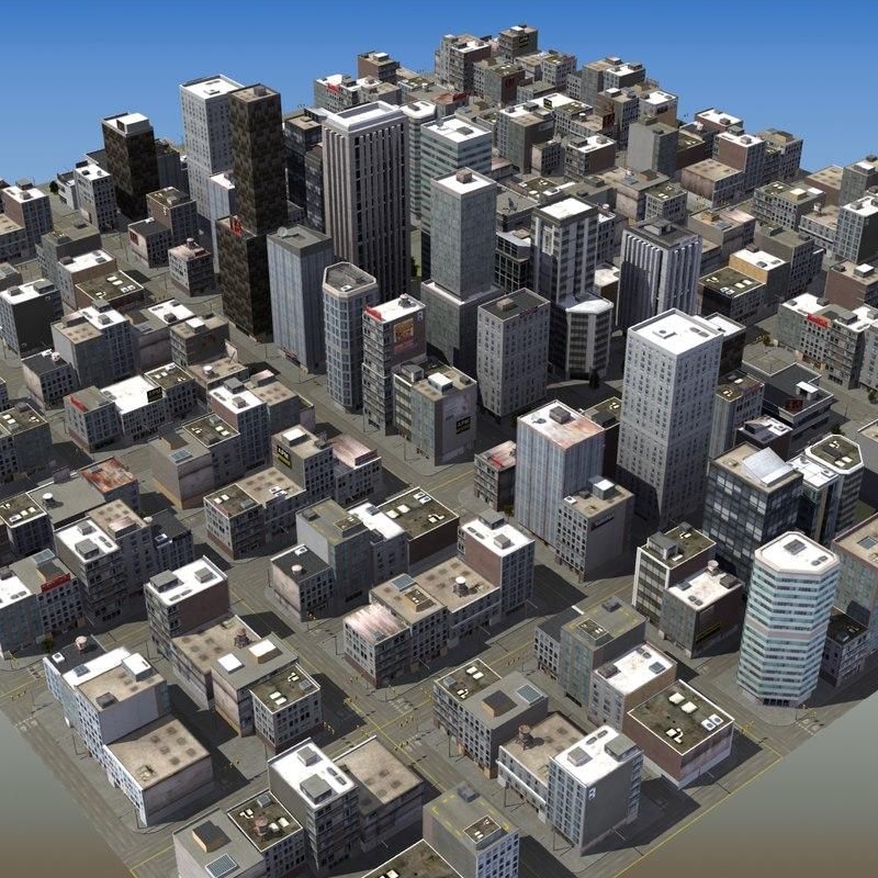 3d model urban city scene trees