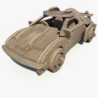 3d model wooden puzzle sports car